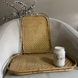 Vintage Boho Chic S/2 Wicker and Bamboo Trays